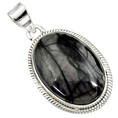 Clearance Sale- 18.70cts natural black picasso jasper 925 sterling silver pendant jewelry d41382