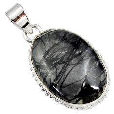 Clearance Sale- 20.88cts natural black picasso jasper 925 sterling silver pendant jewelry d41384