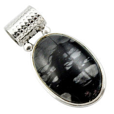 19.23cts natural black picasso jasper 925 sterling silver pendant jewelry r27821