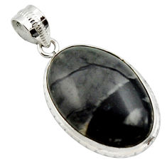 18.70cts natural black picasso jasper 925 sterling silver pendant jewelry r27822