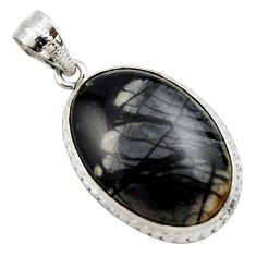 19.57cts natural black picasso jasper 925 sterling silver pendant jewelry r27824