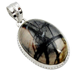 19.18cts natural black picasso jasper 925 sterling silver pendant jewelry r27825