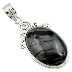 18.70cts natural black picasso jasper 925 sterling silver pendant jewelry r27826
