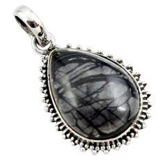 18.15cts natural black picasso jasper 925 sterling silver pendant jewelry r27828