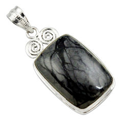 19.07cts natural black picasso jasper 925 sterling silver pendant jewelry r27829