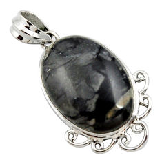 18.15cts natural black picasso jasper 925 sterling silver pendant jewelry r27831