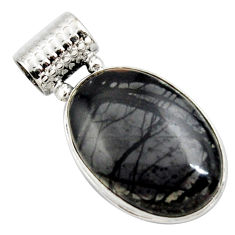 19.07cts natural black picasso jasper 925 sterling silver pendant jewelry r27832