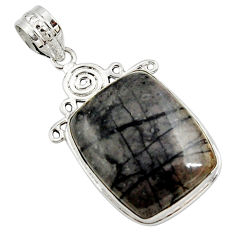19.72cts natural black picasso jasper 925 sterling silver pendant jewelry r27834