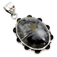 20.65cts natural black picasso jasper 925 sterling silver pendant jewelry r27836