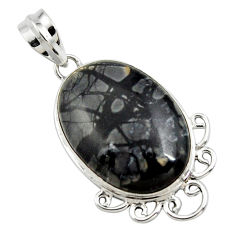 17.57cts natural black picasso jasper 925 sterling silver pendant jewelry r27839