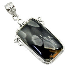22.59cts natural black picasso jasper 925 sterling silver pendant jewelry r32162