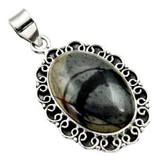 20.76cts natural black picasso jasper 925 sterling silver pendant jewelry r32163