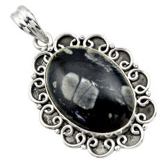 20.71cts natural black picasso jasper 925 sterling silver pendant jewelry r32169