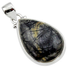 15.72cts natural black picasso jasper 925 sterling silver pendant jewelry r46518