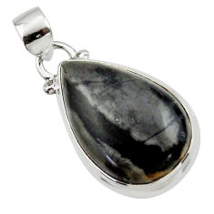 14.05cts natural black picasso jasper 925 sterling silver pendant jewelry r46536