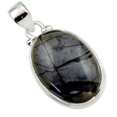14.95cts natural black picasso jasper 925 sterling silver pendant jewelry r46539