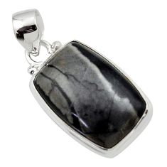 15.38cts natural black picasso jasper 925 sterling silver pendant jewelry r46576