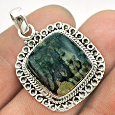 14.41cts natural black picasso jasper 925 sterling silver pendant jewelry t53341