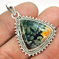15.97cts natural black picasso jasper 925 sterling silver pendant jewelry t53352
