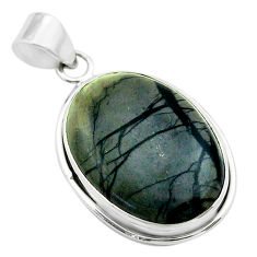 18.70cts natural black picasso jasper 925 sterling silver pendant jewelry t53652