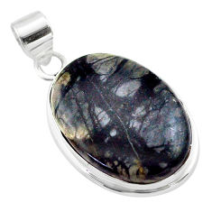 19.72cts natural black picasso jasper 925 sterling silver pendant jewelry t53655