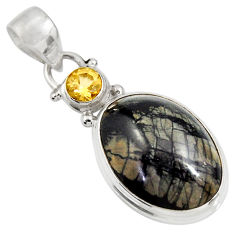 Clearance Sale- 14.72cts natural black picasso jasper citrine 925 sterling silver pendant d39369