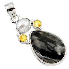 Clearance Sale- 16.73cts natural black picasso jasper citrine pearl 925 silver pendant d45313