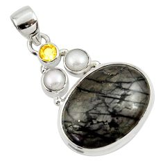 Clearance Sale- 18.15cts natural black picasso jasper citrine pearl 925 silver pendant d45317