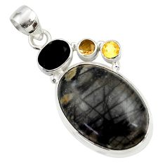 22.59cts natural black picasso jasper onyx 925 sterling silver pendant d45319