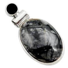19.23cts natural black picasso jasper onyx 925 sterling silver pendant r27838