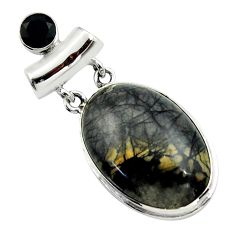 25.00cts natural black picasso jasper onyx 925 sterling silver pendant r32165