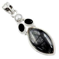 17.22cts natural black picasso jasper onyx pearl 925 silver pendant d45308
