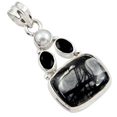 Clearance Sale- 15.53cts natural black picasso jasper onyx pearl 925 silver pendant d45312