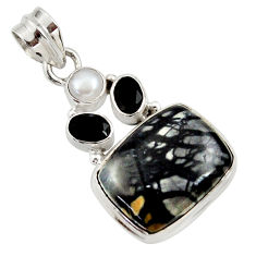 Clearance Sale- 19.60cts natural black picasso jasper onyx pearl 925 silver pendant d45316