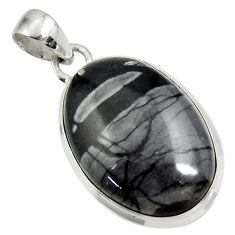 Clearance Sale- 22.44cts natural black picasso jasper oval 925 sterling silver pendant d41250