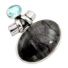 28.27cts natural black picasso jasper topaz 925 sterling silver pendant r30489