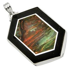 Clearance Sale- 59.10cts natural black pietersite (african) 925 sterling silver pendant d42817