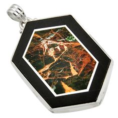 59.10cts natural black pietersite (african) 925 sterling silver pendant d42819