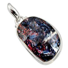 Clearance Sale- 20.07cts natural black pietersite (african) 925 sterling silver pendant d44230