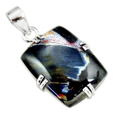 17.50cts natural black pietersite (african) 925 sterling silver pendant r20058