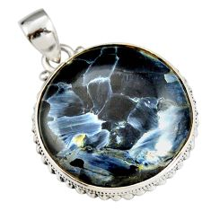 24.00cts natural black pietersite (african) 925 sterling silver pendant r20061