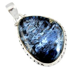 19.57cts natural black pietersite (african) 925 sterling silver pendant r20076