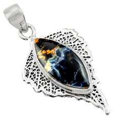 14.90cts natural black pietersite (african) 925 sterling silver pendant r39154
