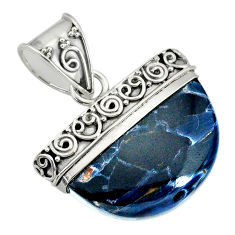 15.80cts natural black pietersite (african) 925 sterling silver pendant r85066