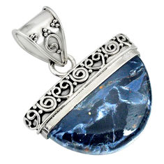 14.90cts natural black pietersite (african) 925 sterling silver pendant r85069
