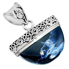 13.87cts natural black pietersite (african) 925 sterling silver pendant r85077