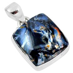 14.65cts natural black pietersite (african) 925 sterling silver pendant t28597