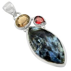 19.23cts natural black pietersite (african) garnet 925 silver pendant r39132