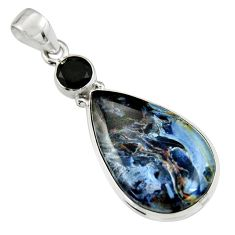 14.23cts natural black pietersite (african) onyx 925 silver pendant r19620