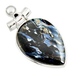 24.00cts natural black pietersite (african) pearl 925 silver pendant r20063